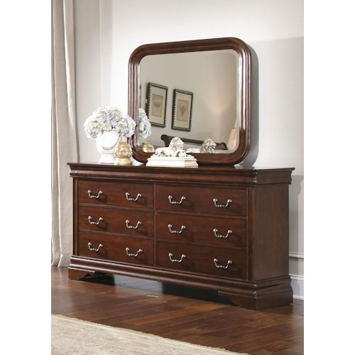 Liberty Furniture Carriage Court 8 Drawer Dresser and Beveled Edge Mirror