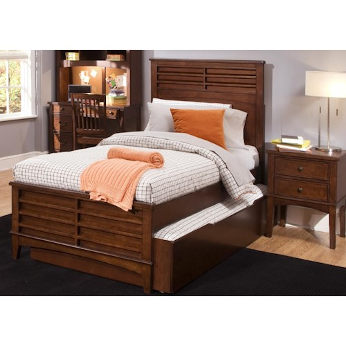 Liberty Furniture Chelsea Square Youth Twin Size Panel Bed with Trundle Storage Drawer
