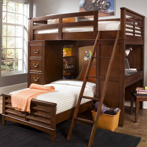 Liberty Furniture Chelsea Square Youth Twin Loft Bed Unit with Built-In Desk and Chest