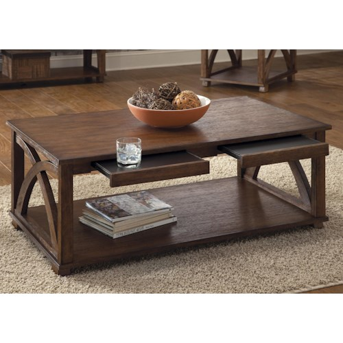 Vendor 5349 Chesapeake Bay Arched Panel Cocktail Table with Hidden Trays