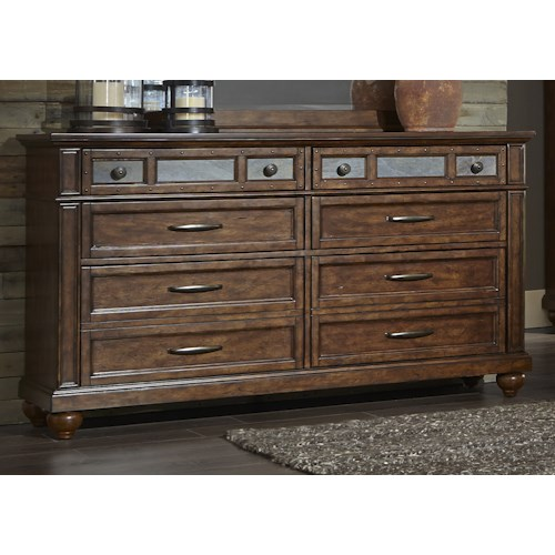 Liberty Furniture Coronado Bedroom 6 Drawer Dresser in Tobacco Finish