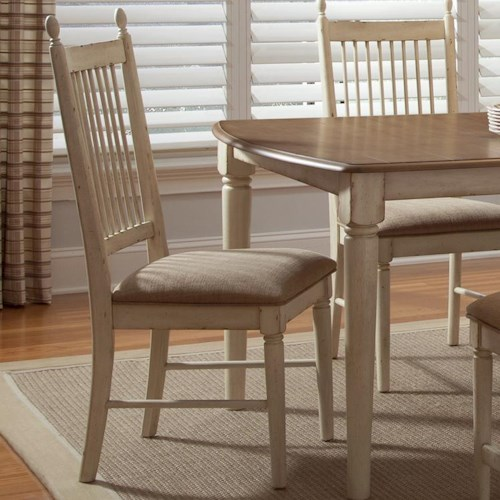 Liberty Furniture Cottage Cove Spindle Back Dining Side Chair with Upholstered Seat