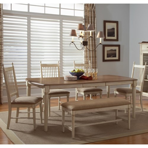 Liberty Furniture Cottage Cove Six-Piece Table, Chair, and Bench Dining Set