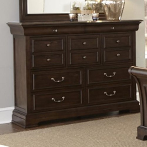 Liberty Furniture Country Estate Traditional 9 Drawer Chesser with Blue Stone Top