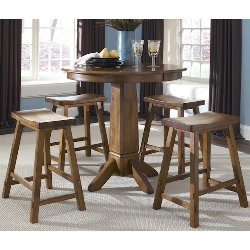 Liberty Furniture Creations II 5 Piece Round Pub Table with Single Pedestal and Bar Stools