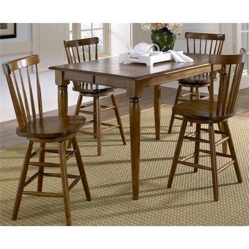 Liberty Furniture Creations II 5 Piece Gathering Table with 18 Inch Leaf and Copenhagen Spindle Back Bar Stools