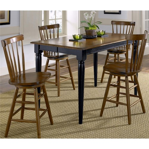 Vendor 5349 Creations II 5 Piece Gathering Table with 18 Inch Leaf and Copenhagen Spindle Back Bar Stools