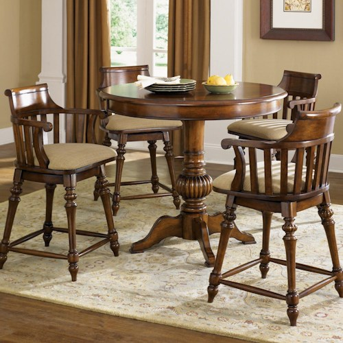 Vendor 5349 Crystal Lakes 5 Piece Pub Set with Round Pub Table & 2 Swivel Counter Height Chairs