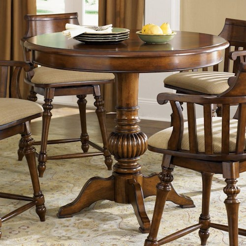 Liberty Furniture Crystal Lakes Round Pub Table with Pedestal Base
