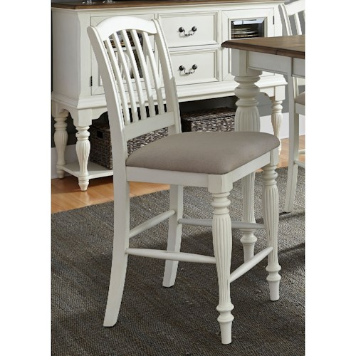 Liberty Furniture Cumberland Creek Dining Slat Back Counter Chair with Upholstered Seat