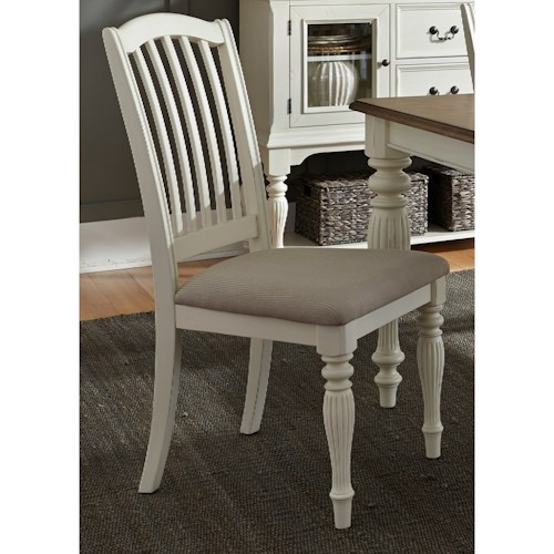 Liberty Furniture Cumberland Creek Dining Slat Back Side Chair with Upholstered Seat