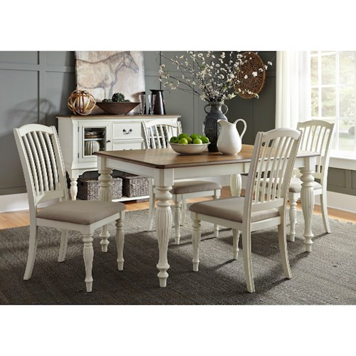 Liberty Furniture Cumberland Creek Dining 5 Piece Rectangular Table Set