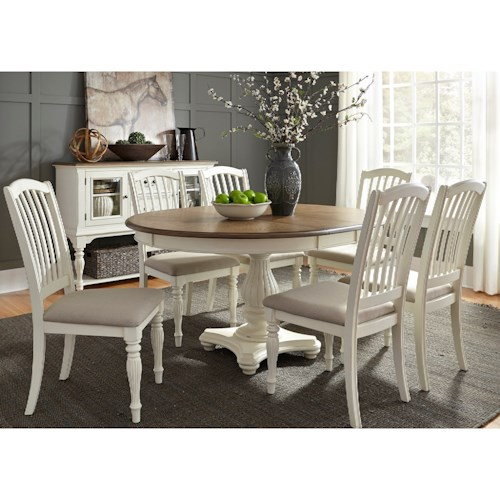 Liberty Furniture Cumberland Creek Dining 7 Piece Pedestal Table Set
