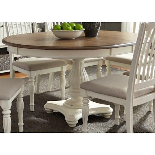 Liberty Furniture Cumberland Creek Dining Pedestal Table with Leaf