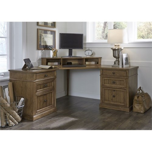Liberty Furniture Cumberland Creek Corner Desk with 6 Dovetail Drawers