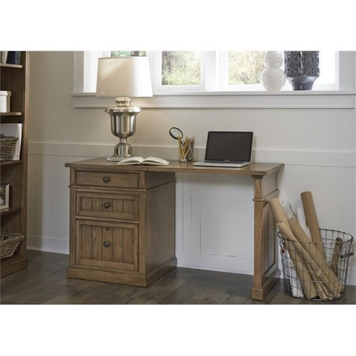 Liberty Furniture Cumberland Creek Desk with Three Drawer File Cabinet