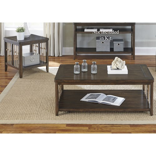 Liberty Furniture Dockside Coastal 3 Piece Set with Rope Accents