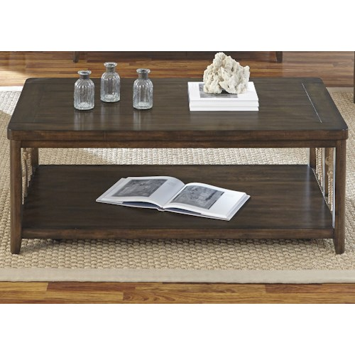 Liberty Furniture Dockside Coastal Cocktail Table with Rope Accents