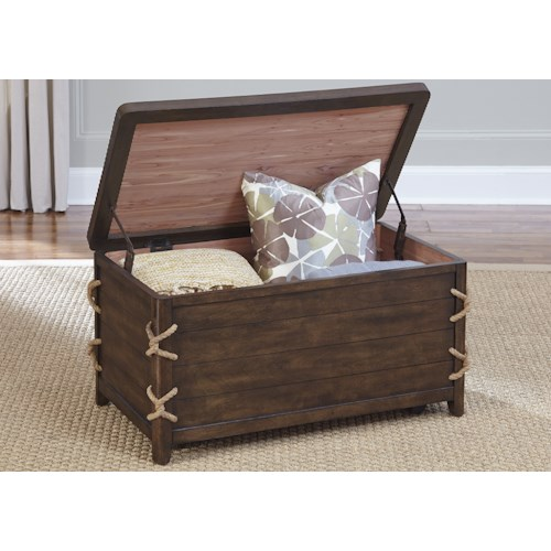 Liberty Furniture Dockside Coastal Storage Trunk with Rope Accents