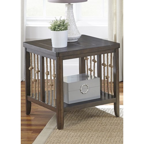 Liberty Furniture Dockside Coastal End Table with Rope Accents