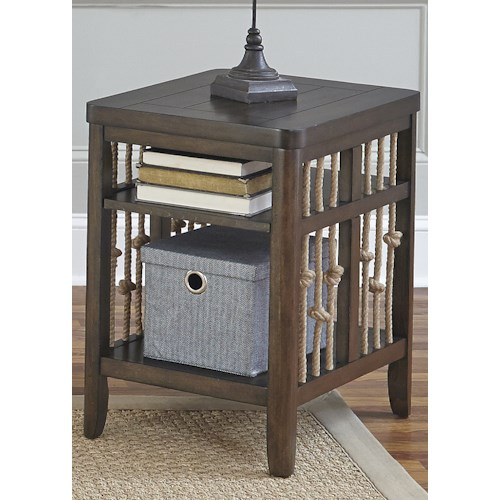 Liberty Furniture Dockside Coastal Chair Side Table with Rope Accents