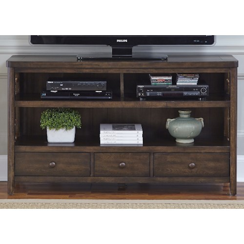Liberty Furniture Dockside Coastal TV Console with Rope Accents