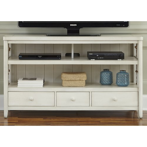Liberty Furniture Dockside II Coastal TV Console with Rope Accents