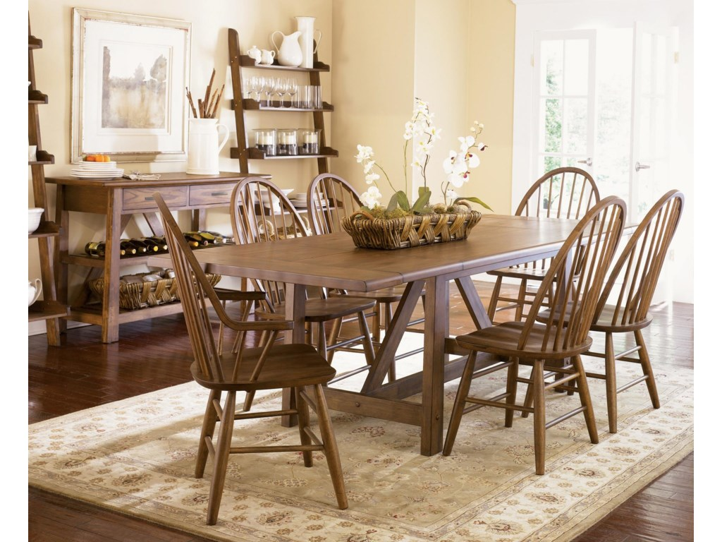 Shown with Side and Arm Chairs, Trestle Table, and Bookcase