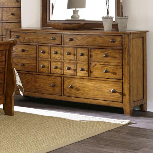 Liberty Furniture Grandpa's Cabin 7 Drawer Dresser with Tapered Block Feet