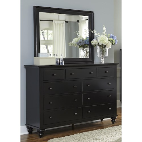Liberty Furniture Hamilton III Transitional Nine Drawer Dresser & Landscape Mirror