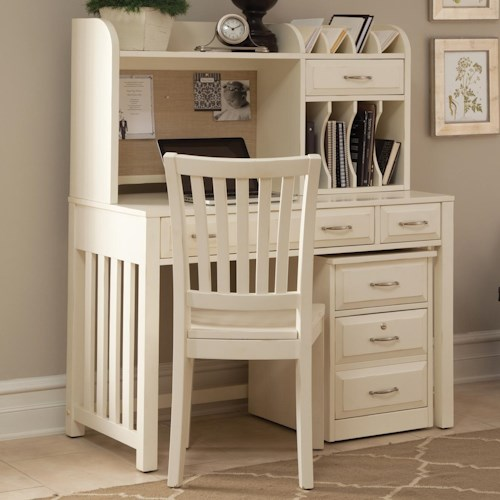 Liberty Furniture Hampton Bay - White Home Office Desk with Hutch