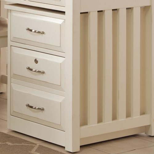 Liberty Furniture Hampton Bay - White Mobile File Cabinet with File Drawer Locks