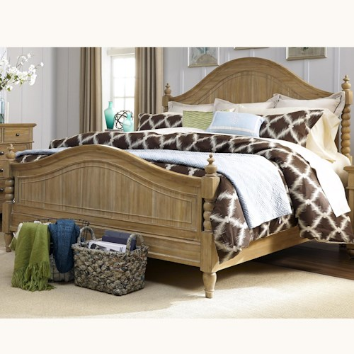 Liberty Furniture Harbor View Queen Poster Bed with Barley Twist Accents