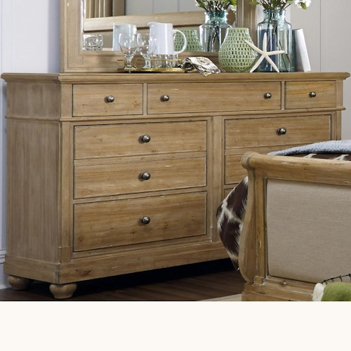 Vendor 5349 Harbor View Dresser with 7 Drawers and Plinth Base