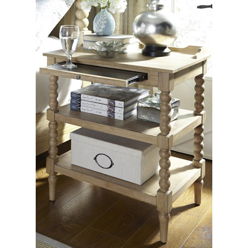 Liberty Furniture Harbor View Night Stand with Pull Out Shelf and 2 Stationary Shelves