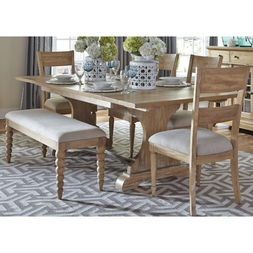 Liberty Furniture Harbor View Trestle Table with 4 Slat Back Chairs and Dining Bench