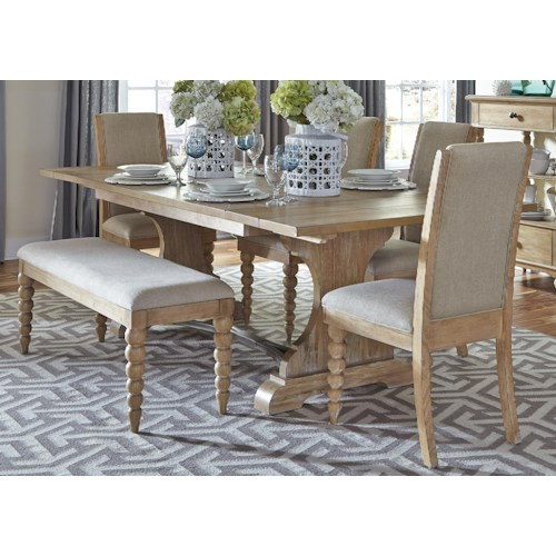 Liberty Furniture Harbor View Trestle Table and 4 Upholstered Side Chairs and Dining Bench Set