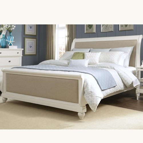 Liberty Furniture Harbor View King Sleigh Bed with Linen Insert Panels