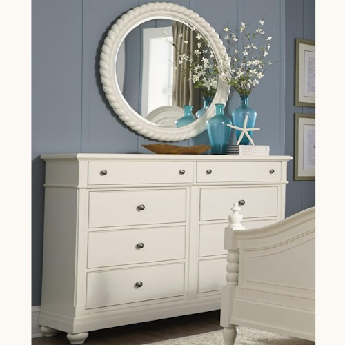 Liberty Furniture Harbor View Dresser with 8 Drawers and Rope Mirror