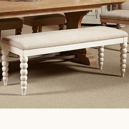 Vendor 5349 Harbor View Dining Bench with Upholstered Seat and Turned Legs