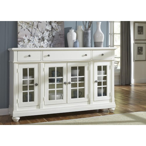 Vendor 5349 Harbor View Buffet with 3 Shelves and 4 Doors