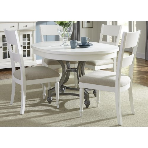 Vendor 5349 Harbor View Round Table with 4 Slat Back Chairs Set