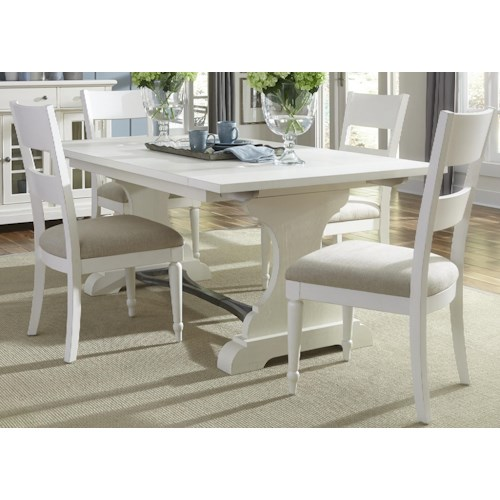 Vendor 5349 Harbor View Trestle Table and 4 Slat Back Chairs