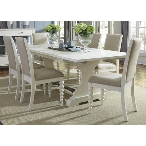 Vendor 5349 Harbor View Trestle Table with 6 Upholstered Side Chairs