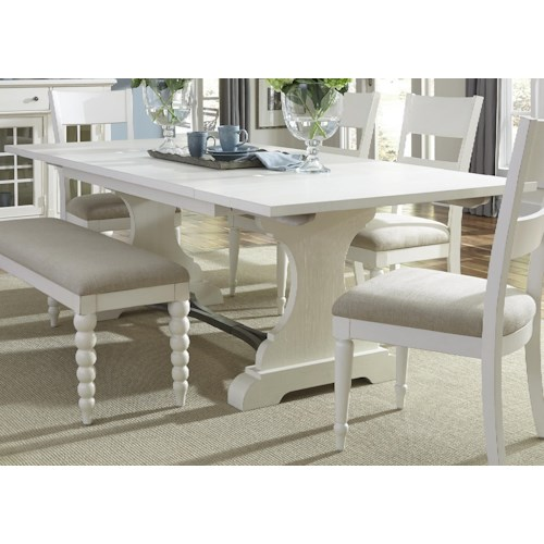 Liberty Furniture Harbor View Trestle Dining Table with 2 Nine Inch Leaves