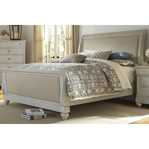 Vendor 5349 Harbor View King Sleigh Bed with Linen Insert Panels