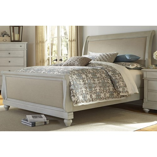 Vendor 5349 Harbor View Queen Sleigh Bed with Linen Insert Panels