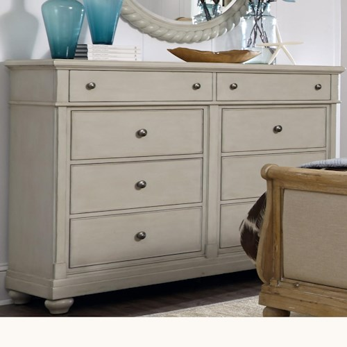 Vendor 5349 Harbor View Dresser with 8 Drawers and Bun Feet
