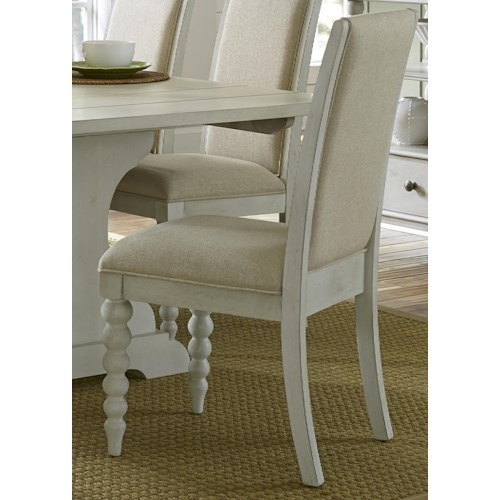 Liberty Furniture Harbor View Upholstered Dining Side Chair with Turned Legs