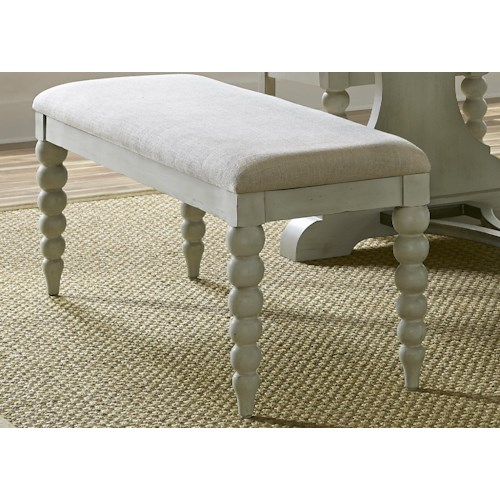 Liberty Furniture Harbor View Dining Bench with Upholstered Seat and Turned Legs